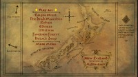 "A menu screen elision overlaid on top of a hand-drawn map showing where in New Zealand certain aspects of the fictional ""Middle Earth"" were filmed. The menu allows the watcher to choose ""Play all,"" or to pick from the following options: Emyn Muil, The Dead Marshes, Rohan, Edoras, Ithilien Fangorn Forest, Helm's Deep, or Main Menu."