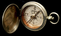 Eric Sevareid's nickel-plated, cased magnetic compass that guided the 1930 canoe trip to Hudson Bay.