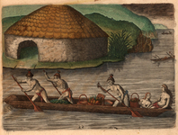 A Florida dugout canoe and typical Timucua houses are shown in a 1591 engraving by Theodor de Bry after Jacques Le Moyne.