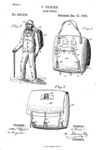 Three sketches for the Duluth Pack patent. Figure one depicts the back straps of the pack. Figure 2 depicts the front of the pack and it's three leather securing straps. Figure 3 depicts a man wearing the duluth pack.