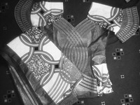 Fig06_01. Women's outfit made of cloth depicting interlocking rings with imitation embroidery along the sleeve edges.