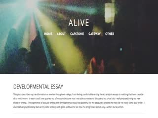 Screencast video of the developmental essay from Jenna's eportfolio.