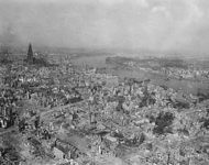 Allied bombing raids destroyed much of Cologne.