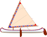 Lateen sail design illustration by Todd Bradshaw for an Old Town wood-and-canvas canoe.
