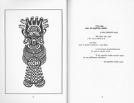 Figure 17. Poem Oye me que mi espíritu habla with drawing by Sandra María Esteves. On the left page she depicts a god-like figure, with an enlarged head and ears. On top of the head, there are four ventricular chambers. The eyes are half-opened, as if in a meditative state. Contour lines cover the entire torso, creating a corporeal topographical map. On the right side of the page is the poem.