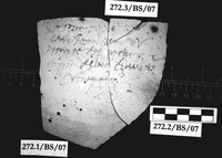 Fig 11: Ostraka 3 inscribed on convex side only, parallel with the throwing marks. Sherd was brushed, slip removed from most of surface prior to writing. Script is semicursive.