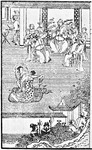 Figure 1.1.  A group of nine men, some clapping their hands, watch two women on a small rug dance together with bent torsos and swirling scarves. In the background a man beats a drum.