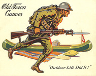The Old Town Canoe Company celebrated the end of the First World War in 1919 with a military-themed catalog cover.
