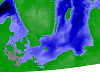 Screen shot of wind-generated spread simulation generated by the GRASS 6 anisotropic wildfire spreading module. The spread is shown as grey-patterned area beginning at the southeastern coast of the Jutland peninsula and extending progressively eastward.