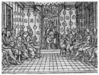Richard Grafton's idealized representation of Edward taking counsel, from the title-page of The union of the two noble and illustre famelies of Lancastre & Yorke (1548) by Edward Hall. This is not a representation of the king attending a meeting of the institutional Privy Council. Although the image dates from the earliest years of Edward's reign it may offer an insight into the physical dimensions of the 'counsel for the estate' after 1552 (see pp. 162–6).