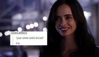 "A ""text-post meme"" where a user has posted a media image of the character Jessica Jones superimposed with another user's written text"