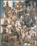 Large photo collage with a dizzying array of people, objects, and German words cut from periodicals. An overview of major events and leaders in 1919–20, particularly of the Dada movement. Objects include simple machines, gears, and wheels. Many of the people are dancing.