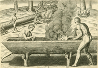 An etching of two men working with steam to hollow a dugout. Men in the background fell trees with fires.
