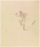 Pencil drawing of Hoffmann, dancing, one knee lifted, smoking a long pipe.