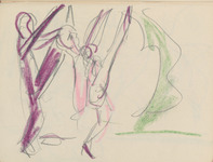 Abstract graphite and crayon sketch in paper sketchbook of Wigman's rehearsals, with two pink and purple figures on the right high-kicking toward the tormenter figure, portrayed as a green mass on the left.