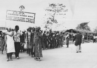 Fig. 4: Photograph of A KNDP women's-wing march, early 1960s. The CWI would become the de facto KNDP women's wing by 1962.
