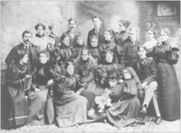 Wright Humason School for the Deaf students, 1895, New York. Keller is in the front left, looking right.