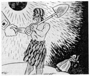 """Person of the Southern Region."" This cartoon appeared in Osaka Puck in December 1942 as part of a before-and-after sequence depicting Asia under Western domination and after Japanese liberation. From Dower (1986:200)."
