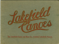 "The cover of a Lakefield Canoes Catalogue, with red and gold text embossed on a light green background. The text reads, ""Lakefield Canoes. The Lakefield Canoe and Boat Co., Limited, Lakefield, Ontario."""