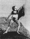 Figure 6.1. Dai Ailian poses on a rock ledge looking up toward the sky. Her arms are outstretched, her legs lunging, and she wears a costume like the flag of the Republic of China.