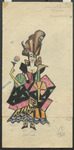 In this costume design, Olimpia, the beautiful automaton in Tales of Hoffmann, is assembled from unnatural cubist shapes that together create a vague impression that she is on the verge of breaking, despite the cheerful look on her doll-like face.