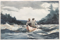 A watercolor painting of two people paddling through rapids in a birch-bark canoe.