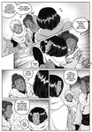 Five frames from a black and white fantasy webcomic depicting scenes of celebration; all characters wear fur-capped, warm-looking robes.