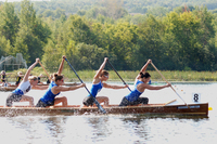 A color photograph of a women's competitive canoe team paddling through water.