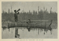 A black and white illustration of two men sitting in a birch-bark canoe on the reflective surface of a lake. One man is sitting in the front of the canoe with a gun, and the other is standing in the back of the canoe with his mouth to the cylindrical moose horn.