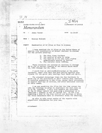 McGrath November 15, 1965 Memorandum.