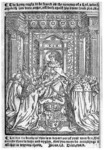 The frontispiece to Thomas Cranmer's Catechism (1548), showing Edward enthroned, handing the Bible to his bishops. The text above the woodcut reads 'The Kyng ought to be feared as the roaryng of a Lyon, who so provoketh him unto anger, offendeth against his owne soule' (Proverbs 20:2). And below it: 'Let not the booke of this law depart out of your mouthes. But recorde there in daye and nyghte, that you maye do accordynge to all that is wrytten therin' (Joshua 1:8; Deuteronomy 17:19).