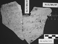 Fig 15a: Ostraka 7 inscribed on convex (15a) and concave (15b) sides, parallel with the throwing marks. Hand is irregular and difficult to read. It might be a receipt certifying his transaction for wheat.