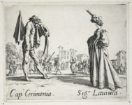 Etching foreground: a woman with her hands tucked into her long gown, right, stands facing a man in a half mask and round spectacles, left, his feather-adorned hat in one hand. Etching background: two figures dance to the music of a theorbo while others watch.
