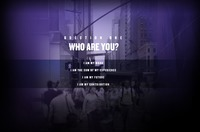 "A screen grab from the Six Degrees website with the words ""Question one Who are you? I am my Work. I am the sum of my experience. I am my future. I am my contribution"" written in white letters on top of a blurry, purple image of various people in downtown New York City on the corner of Fifth Avenue."