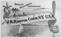 A postcard advertising the J. H. Rushton canoe exhibit at the Columbian Exposition in Chicago, 1893.
