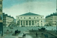Comédie Française at Odéon. The theater at the Place de l'Odéon, built to house the Comédie Française, opened in 1783. The new hall held about 200 more spectators than the Thuileries theater, where the royal actors had preformed for most of the century; more importantly, considerably more of the seats were in loges. This hand-colored engraving, by Jean-François Janninet from a drawing by Jean-Nicolas Louis Durand from the 1780s, is reproduced here from the BCF.