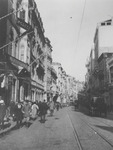 A black and white photo depicts the View of Pera Street.