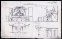 Designs by Eisenstein for Meyerhold's proposed staging of Puss in Boots:Left top: front elevation of the stage with a performance in progress. The prompter, conductor, orchestra musicians, and fictional audience are all depicted simultaneously on the vertical plane.Left bottom: front elevation with the curtain closed.Right top: side elevation of the stage and the vertical positioning of the fictional audience.Right bottom: ground plan of the right half of the stage, including the prompter's box (bottom left of ground plan) and the positions of the orchestra members (marked with circles).