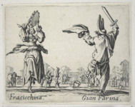 Etching foreground: a woman, left, plays a tambourine, while a man, right, waves a wooden sword and cape. Etching background: two acrobats perform; a strolling guitarist plays; and several others watch.