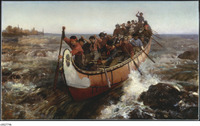 A painting of a very large canoe full of voyageurs traveling through rapids.