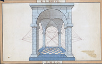 Hand-drawn and colored double-arched structure supported by four pillars and including dashed lines used to calculate the shape of the arch in three dimensions