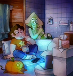 Fan Art animation of the character Steven eating ice cream and watching TV with other character Peridot from the TV series Steven Universe