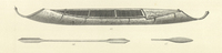 An illustration of a birch-bark canoe and a paddle. The ends of the canoe are shaped similarly to the ends of the Kutenai canoe.