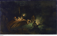 An oil painting of several figures repairing a canoe by torchlight in the evening.