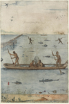 "This drawing by John White dates between 1585 and 1593, and was probably intended to display a bounteous scene to encourage English colonists. Inscribed ""The manner of their fishing."" The Algonquin of North Carolina used dugout canoes to harvest fish from February to May. The word ""cannow"" is written on the hull of the boat."