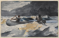 A watercolor painting of two figures paddling through rapids.