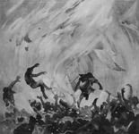 A black and white oil painting. Dark humanoid figures look to be thrown by swirling grey brushstrokes, with more hands and legs stretching from the rubble at the bottom.