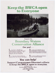 An illustrated poster depicting a square-stern canoe with a motor traveling on the BWCA.