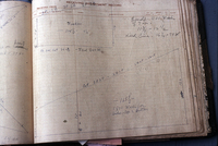Photo of Alva's Snell's hand-drawn blueprint fishing nets.