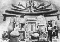 "Aesthetic arrangement in Mariette's Bulaq Museum. Although dismissing such arrangements as ""useless to science,"" Mariette said he used them to catch the attention of Egyptians. In Auguste Mariette-Bey, Album de Musée de Boulaq (Cairo, 1871), plate 37. Photograph by Hippolyte Délile and Émile Béchard."